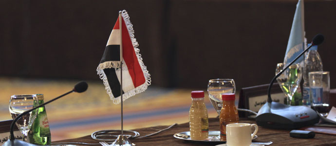 The Syrian flag is seen during the Arab foreign ministers meeting in Cairo
