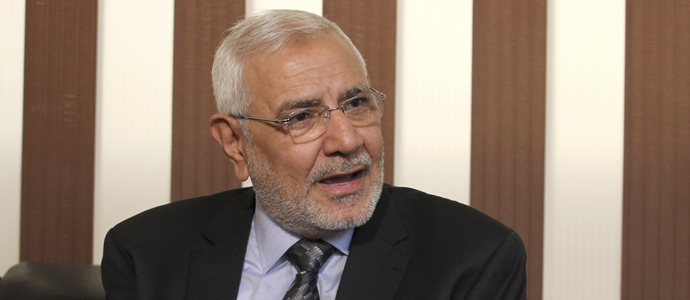 Egyptian presidential candidate Abdel Moneim Abol Fotouh speaks during an interview with Reuters in Cairo April 24, 2012.