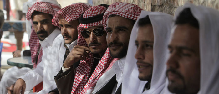 Bedouins attend a gathering during Egyptian presidential candidate and former Arab League secretary general Moussa's visit to South Sinai