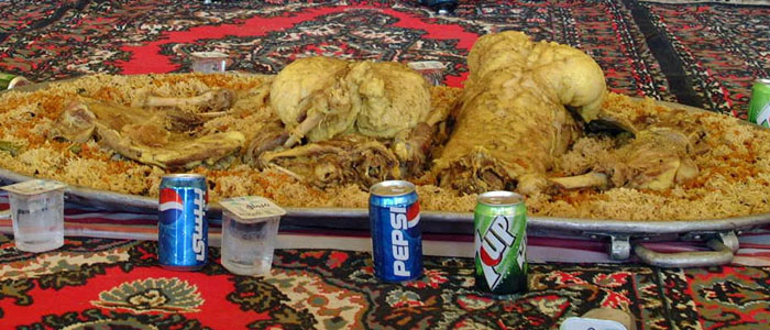 A platter of traditional Qatari food