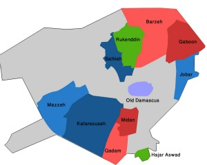DAMASCUS.POLMAP.FIN .01.05.12 SYRIA WITNESS: 'The Map of Damascus is all Red'