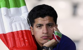 An Iranian soccer fan after his country lost 2-0 to Iraq in an Olympic qualifiying match.