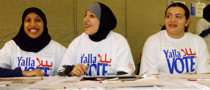 Volunteers in Dearborn, Michigan, encourage Arab-Americans to vote (Reuters, file)