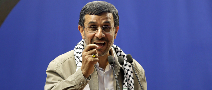 Iranian President Mahmoud Ahmadinejad speaks at the conclusion of an annual pro-Palestinian rally, marking Quds (Jerusalem) Day, on the last Friday of the holy month of Ramadan, at the Tehran University campus, in Tehran, Iran, Friday, Aug. 17, 2012. (AP)