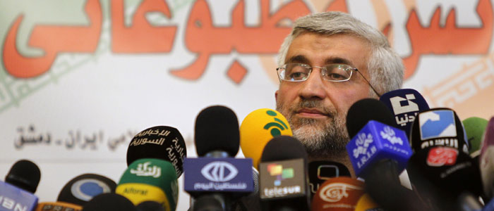 Iran's Supreme National Security Council Secretary Saeed Jalili attends a news conference at the Iranian embassy in Damascus August 7, 2012, after his meeting Syria's President Bashar al-Assad. (Reuters)