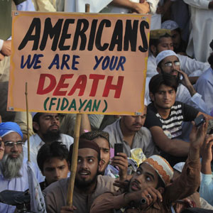Protesters rally against an anti-Muslim film made in the US in Lahore, Pakistan, September 23, 2012.