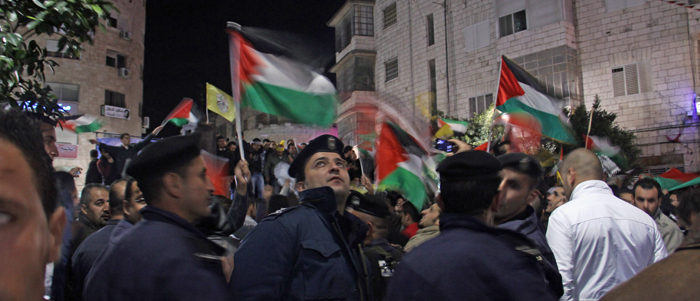 Ramallah, West Bank. Nov. 30 after the UN vote for increased status. Photo by Rebecca Collard