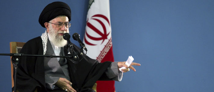 Iran's Supreme Leader Ayatollah Khamenei gestures as he speaks to his supporters in Tehran