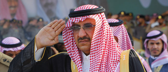 Saudi Prince Mohammed bin Nayef salute during a Saudi special forces graduation ceremony near Riyadh