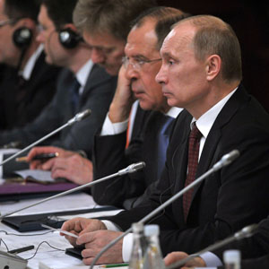 Russian President Vladimir Putin (R) and Foreign Minister Sergey Lavrov during talks with Turkish Prime Minister Recep Tayyip Erdogan in Istanbul December 3, 2012. Syria was among the topics discussed. (AP)