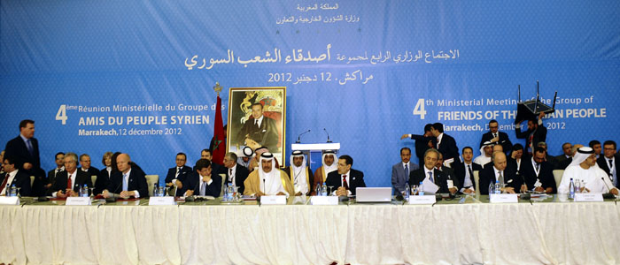 Ministers attend a conference for the Friends of Syria group meeting of Arab and Western states in Marrakech