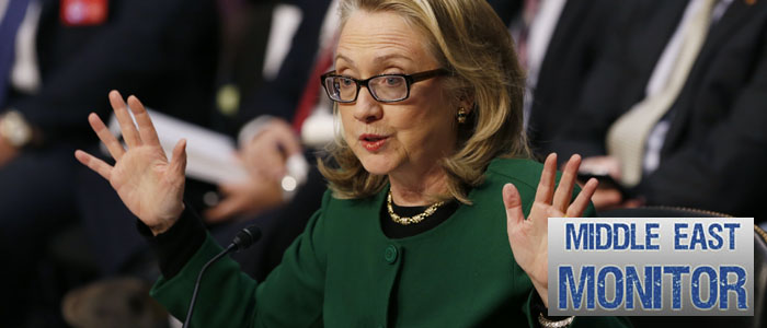 US.Secretary of State Hillary Clinton responds to criticism from Sen. John McCain in Washington