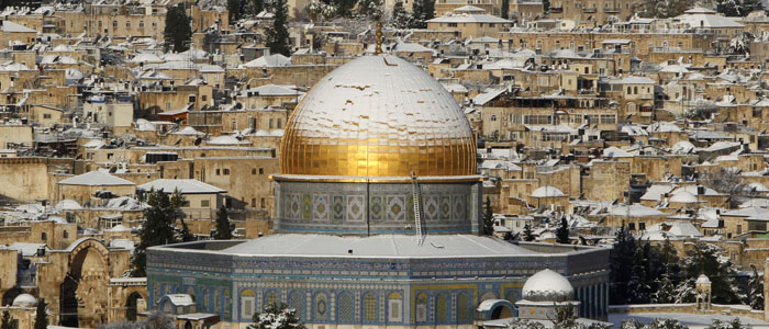 Snow covers the Dome of the Rock on the compound known to Muslims as al-Haram al-Sharif, and to Jews as Temple Mount, in Jerusalem's Old City
