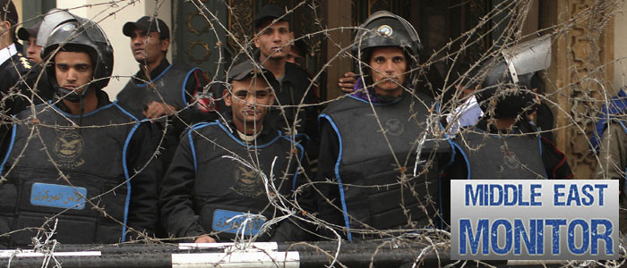Police officers stand guard during anti-Mursi protest in front of the presidential palace, in Cairo