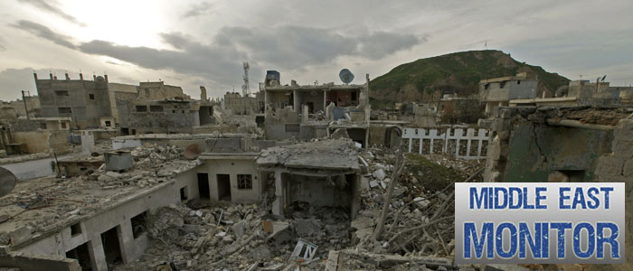 A general view shows the damage after a jet shelled the area in Azaz