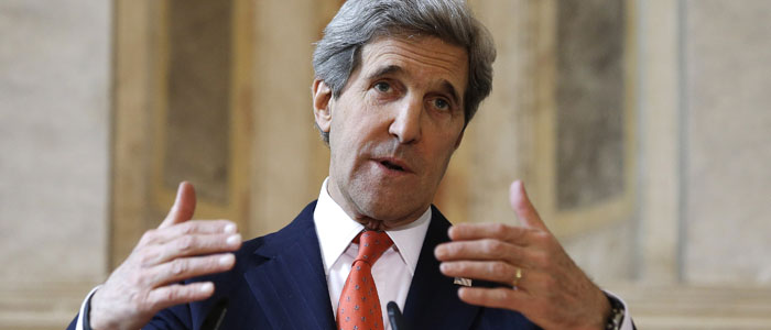 U.S. Secretary of State Kerry speaks at a news conference in Rome