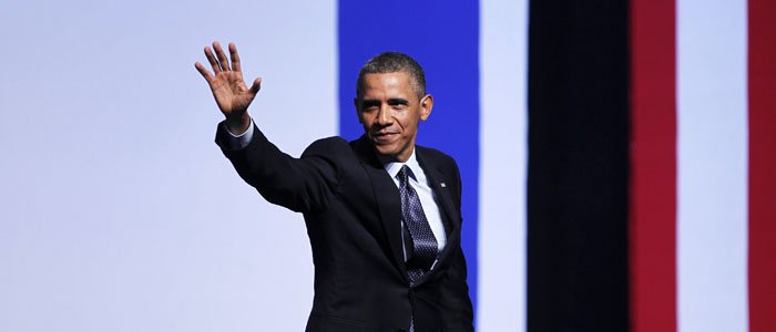 U.S. President Obama waves after addressing Israeli students at the International Convention Center in Jerusalem