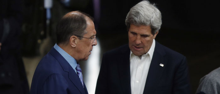 US Secretary of State John Kerry (R) talks to Russian Foreign Minister Sergei Lavrov. (Reuters file)