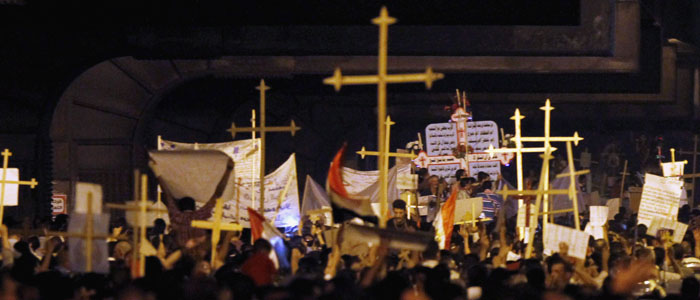 Egyptian Coptic Christians march during a protest in Cairo (Reuters file)