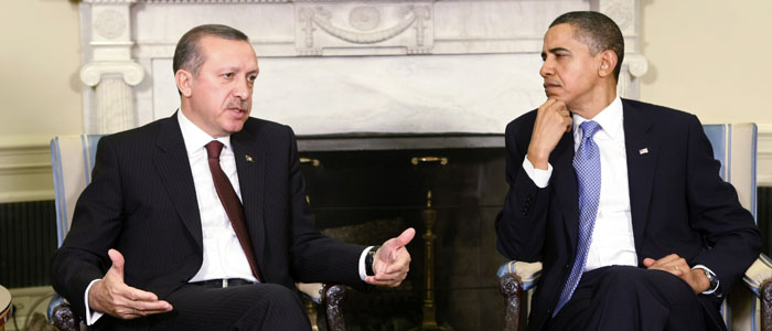 Erdogan speaks next to Obama in the Oval Office at the White House in Washington