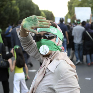 A protester is seen at a rally contesting the results of the last presidential election, in central Tehran June 17, 2009. (Reuters)