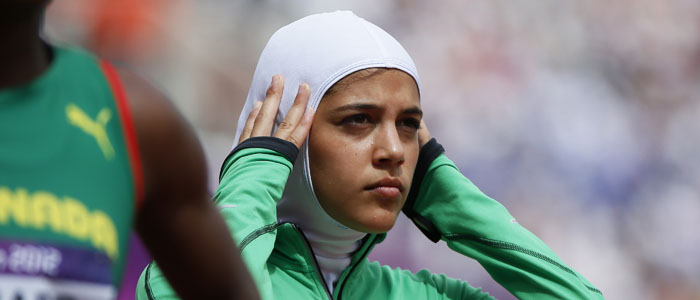 Saudi track and field athlete Sarah Attar is seen at the 2012 London Olympic Games. (Reuters)