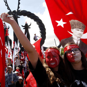 Demonstrators holding national flags shout anti-government slogans at a rally in Ankara May 29, 2013. (Reuters)