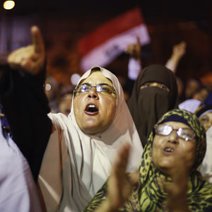 Supporters of deposed Egyptian President Mohamed Morsi shout anti-army slogans during a protest in Cairo July 11, 2013. (Reuters)