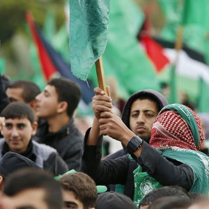 Supporters take part in a rally marking the 25th anniversary of the founding of Hamas, in Gaza City, in this December 8, 2012, file photo. (Reuters)