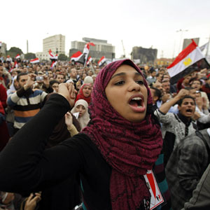 Protesters chant anti-government slogans during demonstrations at Tahrir Square in Cairo February 6, 2011. (Reuters)