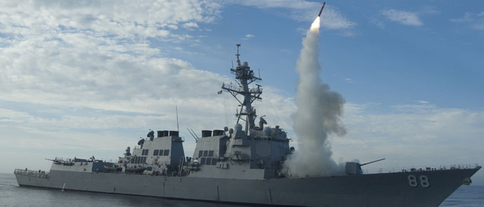 A missile is test-launched from the USS Preble off the coast of California in this September 29, 2010, US Navy handout photo (via Reuters).