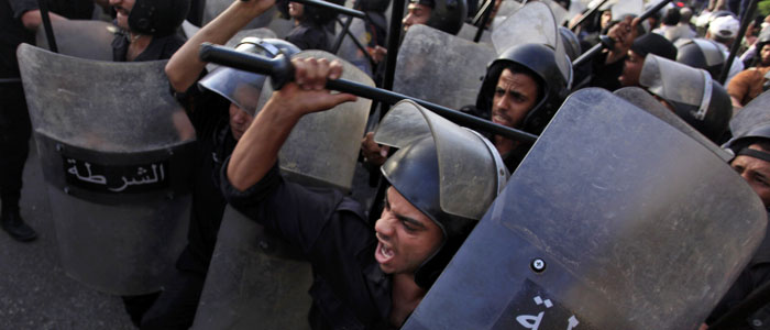 Egyptian riot police are seen during clashes in Cairo in this June 11, 2013, file photo (AP).