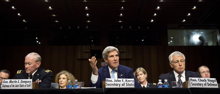 Chairman of the Joint Chiefs General Dempsey, Kerry and Hagel present the administration's case for U.S. military action against Syria to a Senate Foreign Relations Committee hearing in Washington