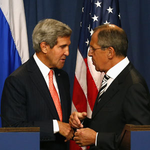 U.S. Secretary of State John Kerry (L) and Russian Foreign Minister Sergei Lavrov are seen after making statements following meetings regarding Syria, at a news conference in Geneva September 14, 2013. (Reuters)