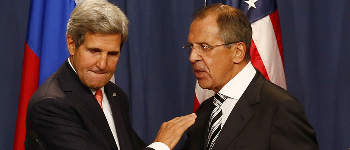 U.S. Secretary of State John Kerry (L) and Russian Foreign Minister Sergei Lavrov are seen after their joint news conference on Syria, in Geneva September 14, 2013. (Reuters)