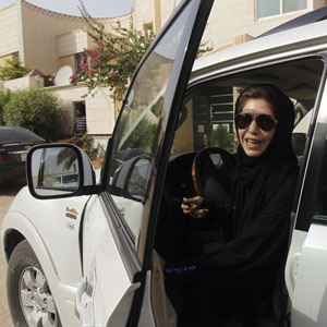 A Saudi female driver is seen exiting her car (Reuters file).