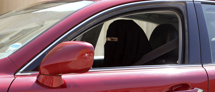 A woman drives a car in Saudi Arabia on October 22, 2013 (Reuters).