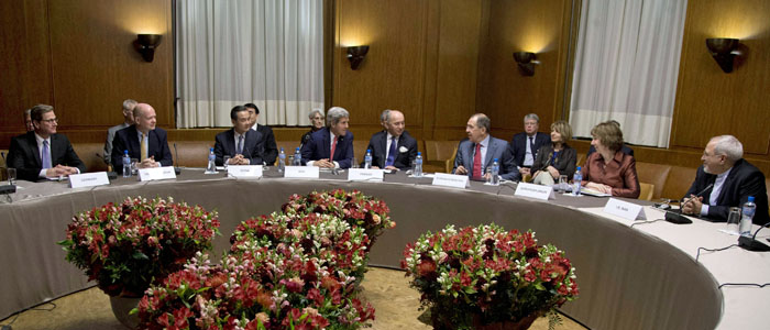 Officials are seen at Iran nuclear talks at the United Nations Palais in Geneva November 24, 2013. (Reuters)