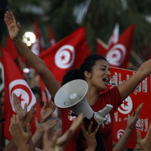 Secularist anti-government protesters shouts slogans as others wave flags during a rally in Tunis August 13, 2013. (Reuters)