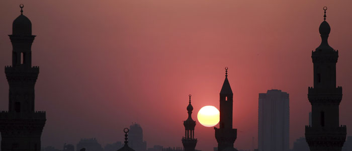 A general view of mosques is pictured before sunset during the Muslim holy month of Ramadan, in Old Cairo
